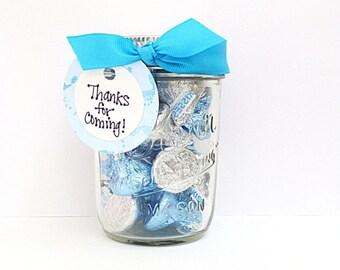 Baby Shower Favor, Itu0027s A Boy Mason Jar, Thank You Gift, Blue White