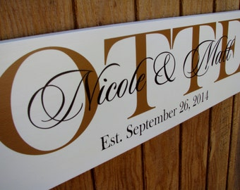Personalized Wedding Gift-Family Established Sign-Wood Sign with Established Date-Personalized Wedding Gift-Anniversary-Engagement-Husband