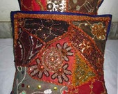 Indian hand embroidered beaded work 2 cushion pillow cover pair set throw cover ethnic vintage home decoration art