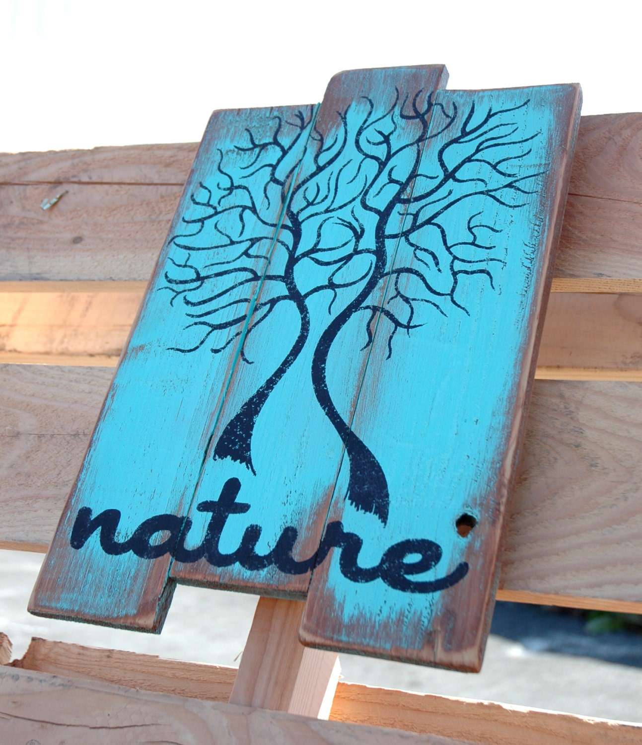 Wall Art With Pallets: Wood Pallet Wall Art Nature Tree Design In Blue By