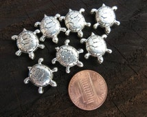 Sterling Silver Turtle Beads 17mm x 15mm x 5mm  (.925) -Destash