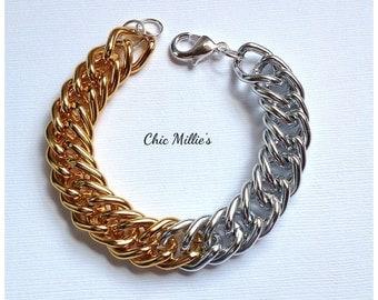 Two tone chunky chain bracelet.