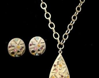 Sarah Coventy Confetti Pastel Necklace Set Vintage