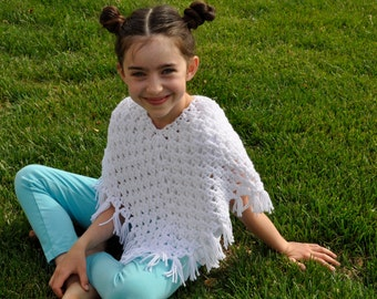 Girls Poncho, Size 4t, 5t, 6, White, Crochet, Wedding, Special Occassion, Gift, Present, Tween, Birthday, First Communion, Christening