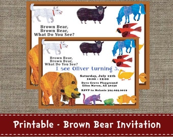 Brown Bear, Brown Bear - What do you see Party Invitation - Printable - DIY
