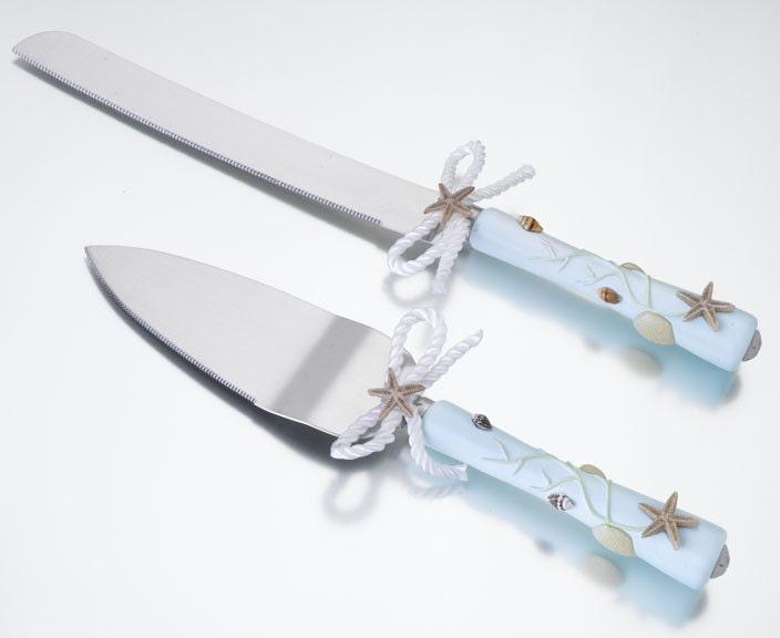 Beach Wedding Theme Design Cake Knife & Server Set Custom