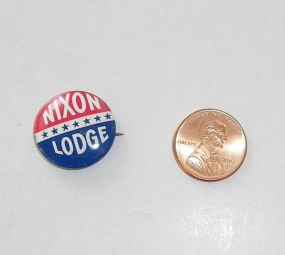Rare Nixon Pins: Vintage Pinback Nixon Lodge Campaign Button By PULSEent On