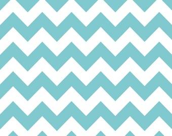 LAST 16 INCHES Riley Blake Medium Chevron in Aqua Fabric