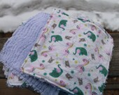 Washable Baby Wipes, Flannel & Chenille Set of 8,  animal print - pink giraffe, green elephant, gray bird
