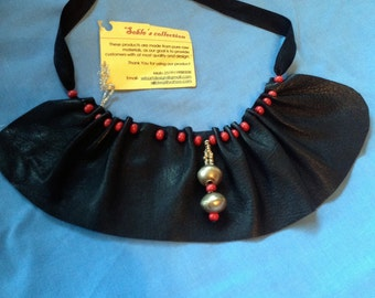 Leather bib necklace by Seble of Ethiopia