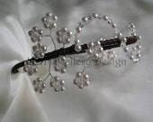 Bridal Headdress - Swarovski Crystal & Pearl Flower Spray Side Detail Headband Tiara