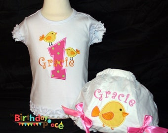 Hot Pink Chick Birthday Shirt or bodysuit and Matching Bloomer