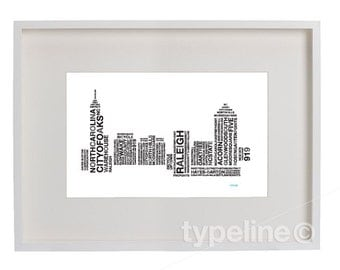 Raleigh, North Carolina Skyline - City Skyline - Typography - Print - 11x17