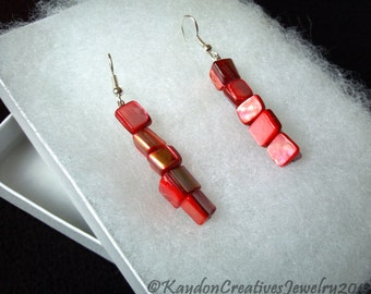 Earrings, Dangling Mother of Pearl Earrings, Red Mother of Pearl Earrings, Silver