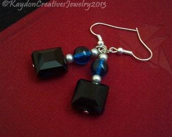 Earrings, Pearl, Blue Czech Glass, and Black Onyx Beaded Silver Dangling Earrings
