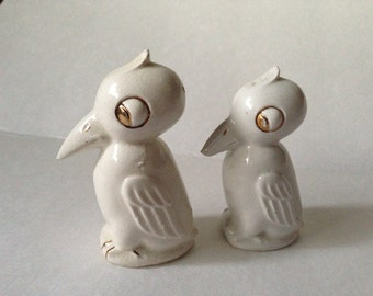 Retro White Pelican birds salt and pepper shakers