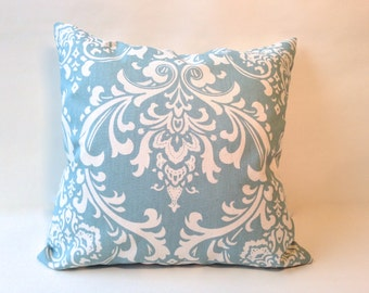 Grey / blue natural ozborne damask accent pillow cover with zipper, 18 x 18""