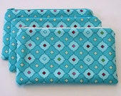 Large Padded Zippered Pouch -- knitting needle storage, notions -- Aqua fabric, cream zipper