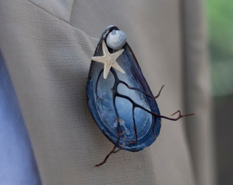 Mussel Shell + Sea Fan Boutonniere for Beach Wedding - Option to Lease