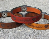 Mothers and Fathers Gift: Personalized Leather Bracelet with Children's Names