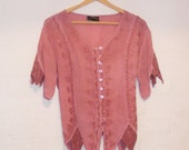 Boho dusky pink lace top, blouse with crochet and button details, very hippy Wicken with pointed sleeves and hem.