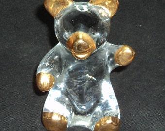 Glass Teddy Bear Figurine with Gold Trim