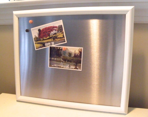 large framed magnetic bulletin board stainless steel simple. Black Bedroom Furniture Sets. Home Design Ideas