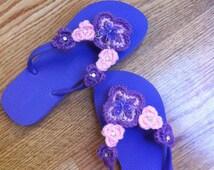 Women and Teen purple Flip flop size 7