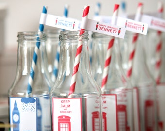 British party theme flags for straws
