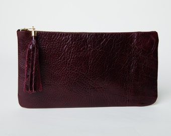Leather Clutch,Purse,Wallet,Pouch, Burgundy