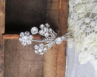Vintage Floral Art Deco Riveted Jewelry Pin/Brooch Silver Tone w/ Rhinestones