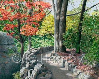 Fall Landscape Art Print of an Original Colored Pencil Drawing