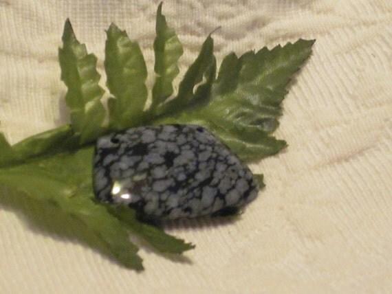 White Snowflake Obsidian : Black white snowflake obsidian stone bead pendant holes