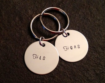 Set of two personalized keychains his and hers mr and mrs
