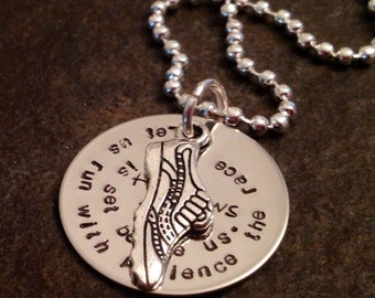 Hand stamped personalized necklace for runner Hebrews 12:1 let us run with endurance the race that is set before us marathon