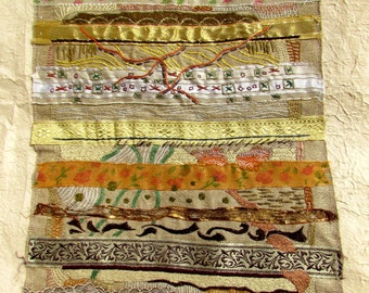 BROWN RIBBONS Mixed media, Fiber art, embroidered Wall hanging OOAK