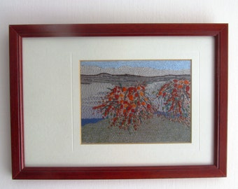 The RED BUSH, fiber wall art, hand embroidery, wall decor, embroidery art OOAK