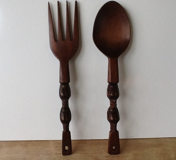 retro oversized wooden spoon and fork set by fourthestatesale. Black Bedroom Furniture Sets. Home Design Ideas