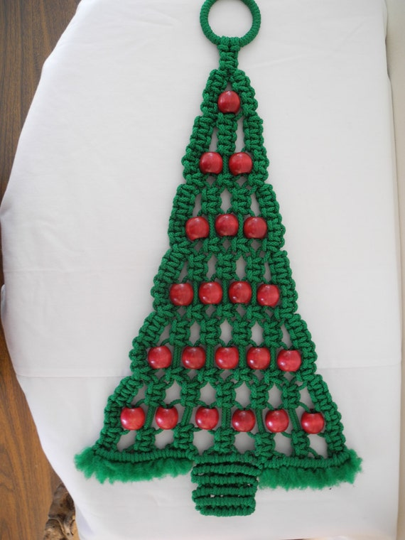 Vintage Macrame Christmas Tree Door Or Wall Hanging
