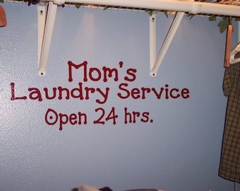 Laundry Room Vinyl Wall Decal Lettering Wall Art Decoration Laundry Service