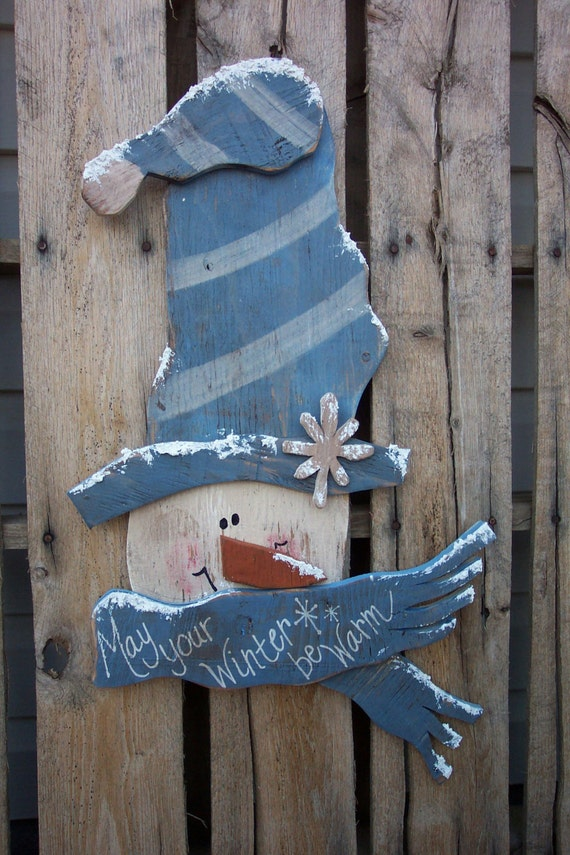 items similar to winter greetings snowman wood craft