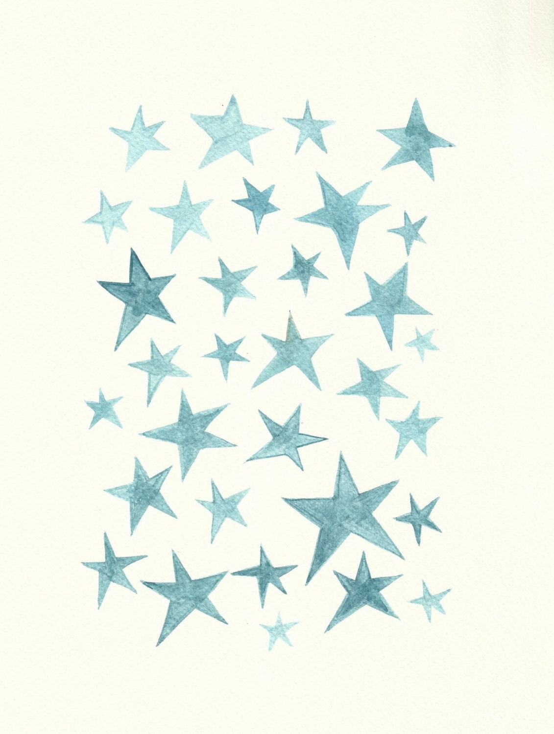 Fab Home Decor Clearance Blue Stars Watercolour Painting By