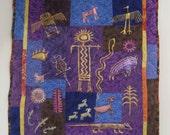 Purple, Blue and Gold Southwest Petroglyphs Art Quilt Wall-Hanging