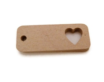 Gift Tags - Heart Tags - 2 x 0.75 in. - 50 ct - Kraft Tags - Valentines Day Tags - Wedding Favor Tags - Wedding Tags -  Hang Tag