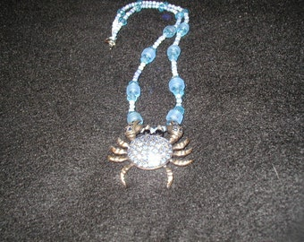 Blue crab necklace