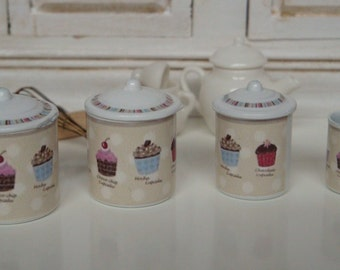 cupcake canisters for kitchen cupcake canister etsy 8552
