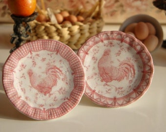 Queen's French Country Rooster Red Plate for Dollhouse
