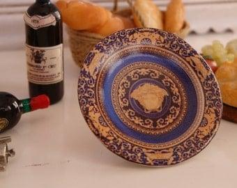 Medusa Blue & Gold Plate for Dollhouse Miniatures
