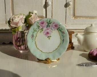 Shabby Pink Roses Mint Dollhouse Miniature Plate