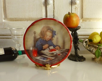 A Little Girl Drawing Plate for Dollhouse